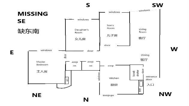 hdb feng shui mid floor unit floor plan edited